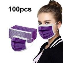 20/50/100 pces máscara facial descartável roxo máscara pessoal 3ply orelha loop não-tecido Anti-pm2.5 adulto máscara rímel de boca @ 40