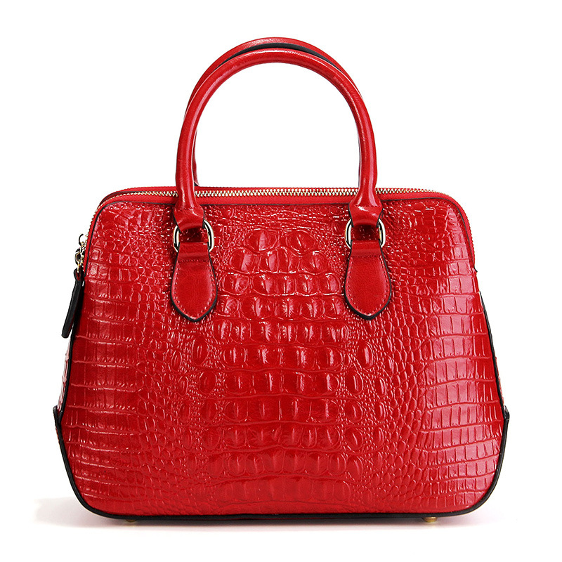 Longlight Lady Split Leather Handbag Women Fashionable Crocodile Pattern Leather Shoulderbag Woman Classical Tote Crossbody Bag