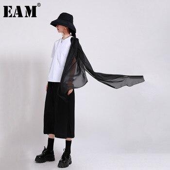 [EAM] Women Black Mesh Split Joint Irregular T-shirt New Round Neck Short Sleeve  Fashion Tide  Spring Summer 2021 1W946 1