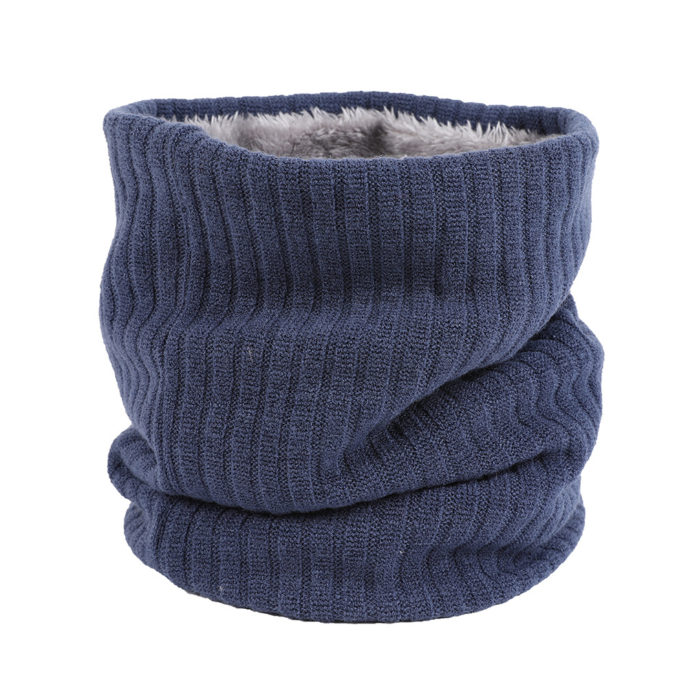 Autumn & Winter Plus Velvet Knitted Scarf Case Couples Outdoor Warm Solid Color Men And Women Versatile Korean-style Pullover Sc