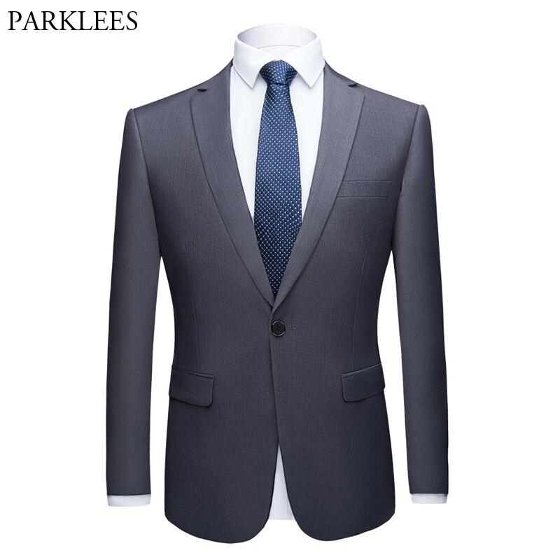 Gray Men Slim Fit One Button Dress Blazer 2019 Barnd New Buisness Wedding Party Jacket Blazer for Male Tuxedo Blazer Masculino