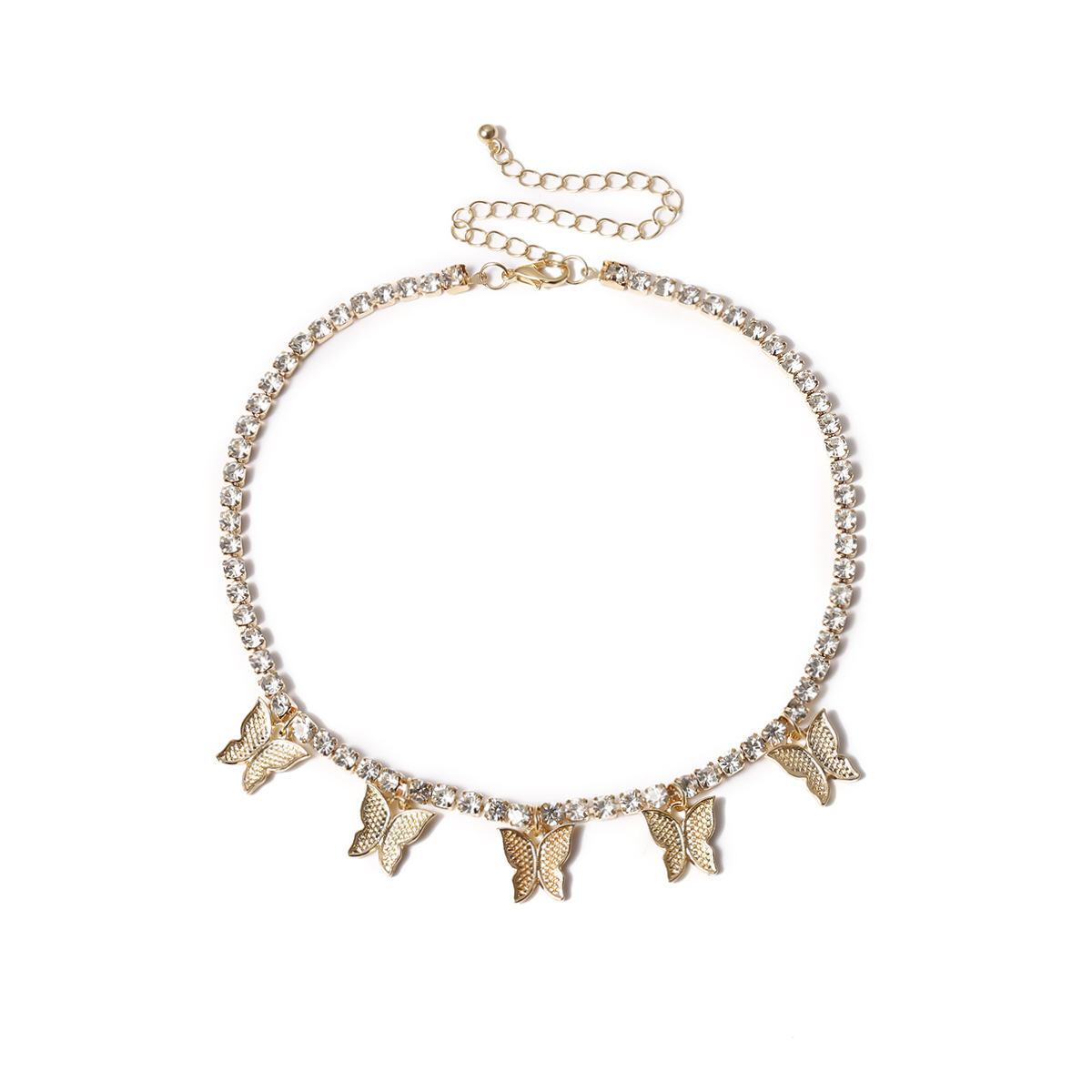 Fashion New Shining Rhinestone Choker Necklace for Women Gold Silver Color Butterfly Pendant Necklaces Female Simple 2020