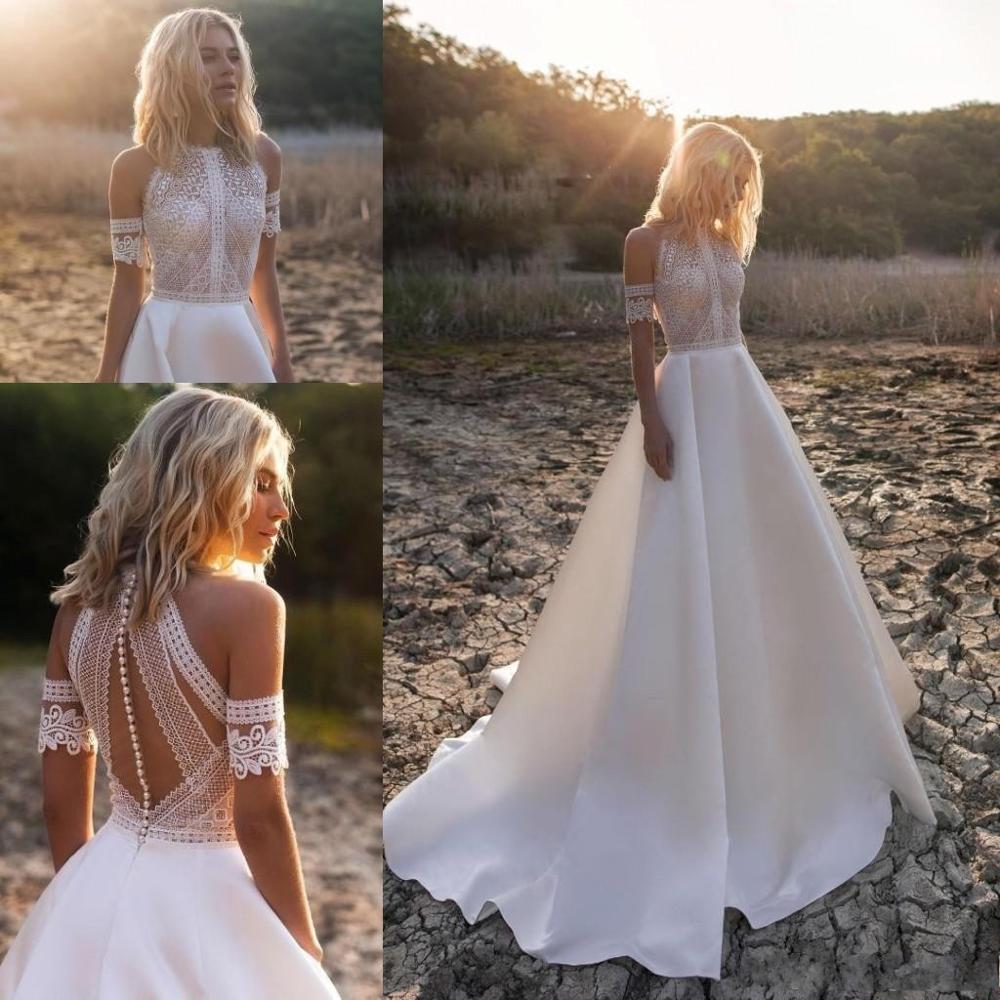 Beach Bohemian A-Line Wedding Dresses Lace Applique Jewel Neck Floor Length Wedding Dress Bridal Gowns Vestido De Novia