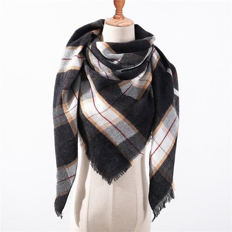 Fashion Knitted Spring Winter Women Scarf 2019 Plaid Warm Cashmere Scarves Shawls Wrap Luxury Brand Neck Bandana Pashmina Ladies
