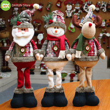 Hot selling flannel handmade Christmas decorations Santa dolls deer window supplies articles home for 2019