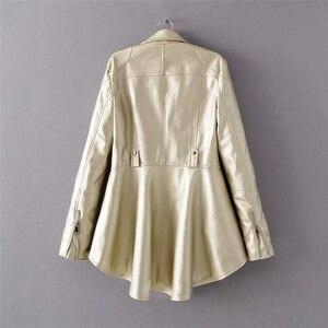 Image 5 - CHICEVER, chaqueta de piel sintética para mujer, cuello de solapa, manga larga, abrigo informal asimétrico de talla grande, abrigo informal para mujer, moda 2020, nueva ropa