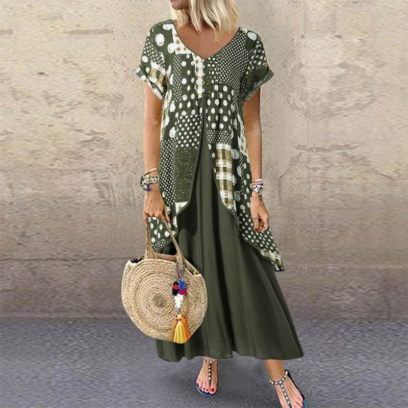 2020 ZANZEA  Maxi Long Dress Autumn Summer Dress Women Polka Dot Print Patchwork Pleated Plus Size Sexy V Neck Vestidos Sundress 1