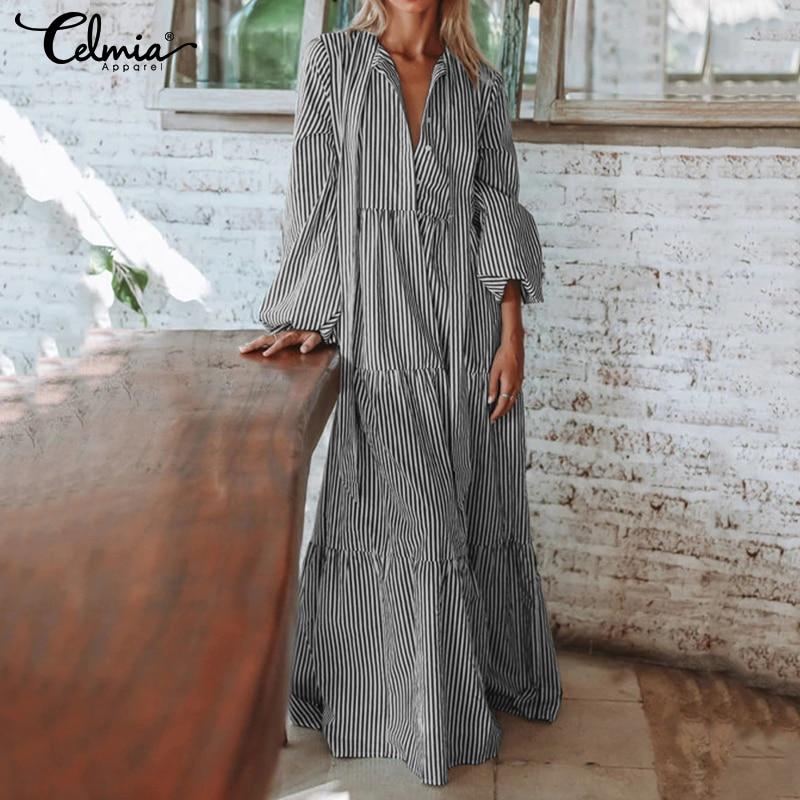 Женское длинное платье cellia, платье в полоску с рукавом-фонариком, Повседневное платье в складку с галстуком-бабочкой, S-5XL