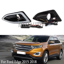 цена на 2Pcs LED Daytime Running Light For Ford Edge 2015-2018 DRL fog light 12V Waterproof Yellow siganl Fog Lamp With Fog Lamp Hole