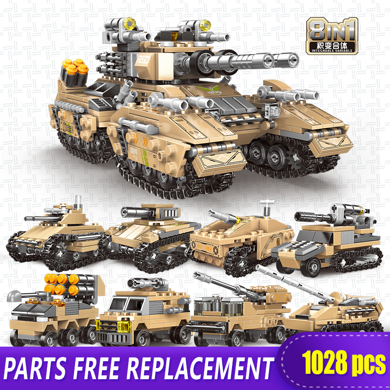 NEW IN BOX Building Blocks Set Tank Military Transport Toy DIY Model Gift 8in1