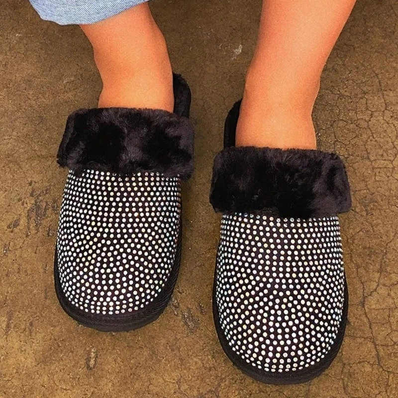 Winter Slippers Women Fur Slides Warm Plush Home Shoes Rhinestone Furry Slippers Ladies Indoor Bedroom Shoes Zapatos De Mujer
