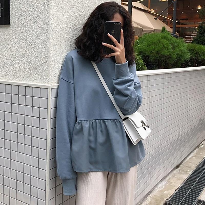 Women Hoodie Sweatshirts 2019 Autumn Harajuku Solid Ruffle Long Sleeve Hoodies O Neck Pullover Tops Casual Loose Thin Sweatshirt