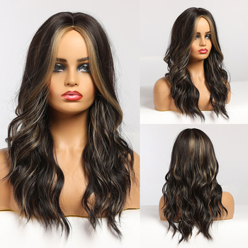 EASIHAIR Dark Brown Ombre Wavy Wigs Hightlight Medium Women Natural Hair Wig Middle Part Synthetic Cosplay Heat Resistant - discount item  50% OFF Synthetic Hair