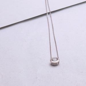 Image 2 - DovEggs 14K 585 White Gold Center 2ct 8mm F  Color Moissanite Pendant Necklace for Women Gold Necklace