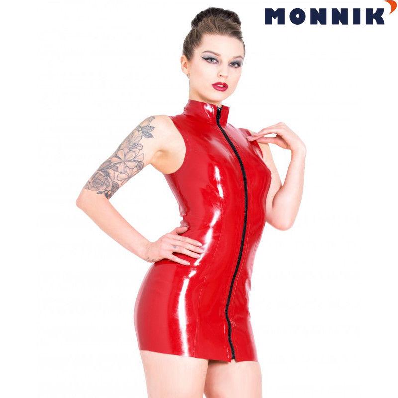 MONNIK latex Latex Rubber Dress Apron Unisex Costumes Unique with Front Zipper Club Wear