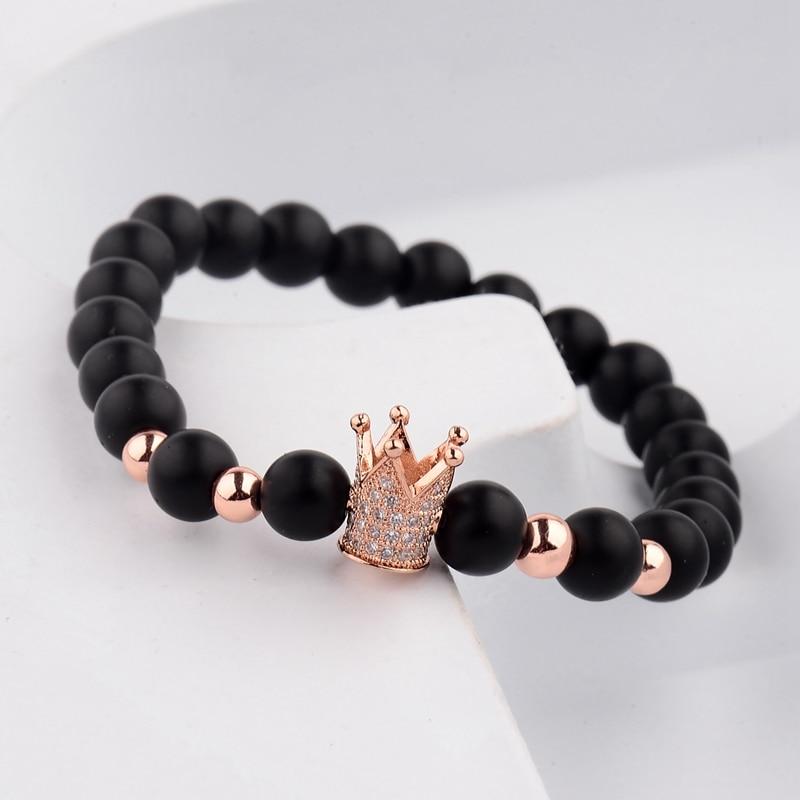 Купить трендовый черный матовый камень pave cz корона браслет для мужчин