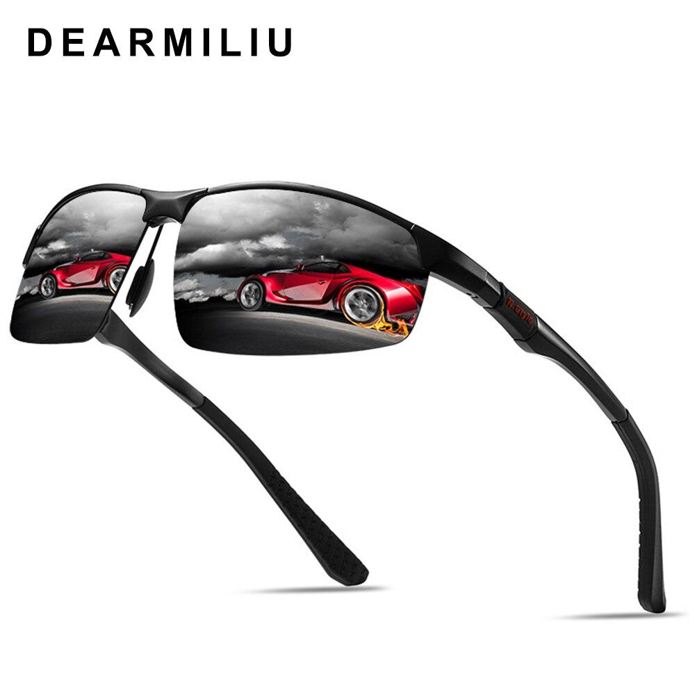 DEARMILIU Aluminum Magnesium Men's Sunglasses Polarized Semi-Rimless Mirror Sun Glasses oculos Male Eyewear Accessories For Men