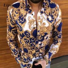 Casual Loose Turn-down Collar Mens Shirts Vintage Printing Button Short Sleeve Tops 2021 Summer Men Clothing Fashion Streetwear