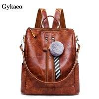 Gykaeo 2019 Designer Backpacks Women High Quality School Bags for Teenage Girls Black Brown Vintage Backpack Mochila Feminina