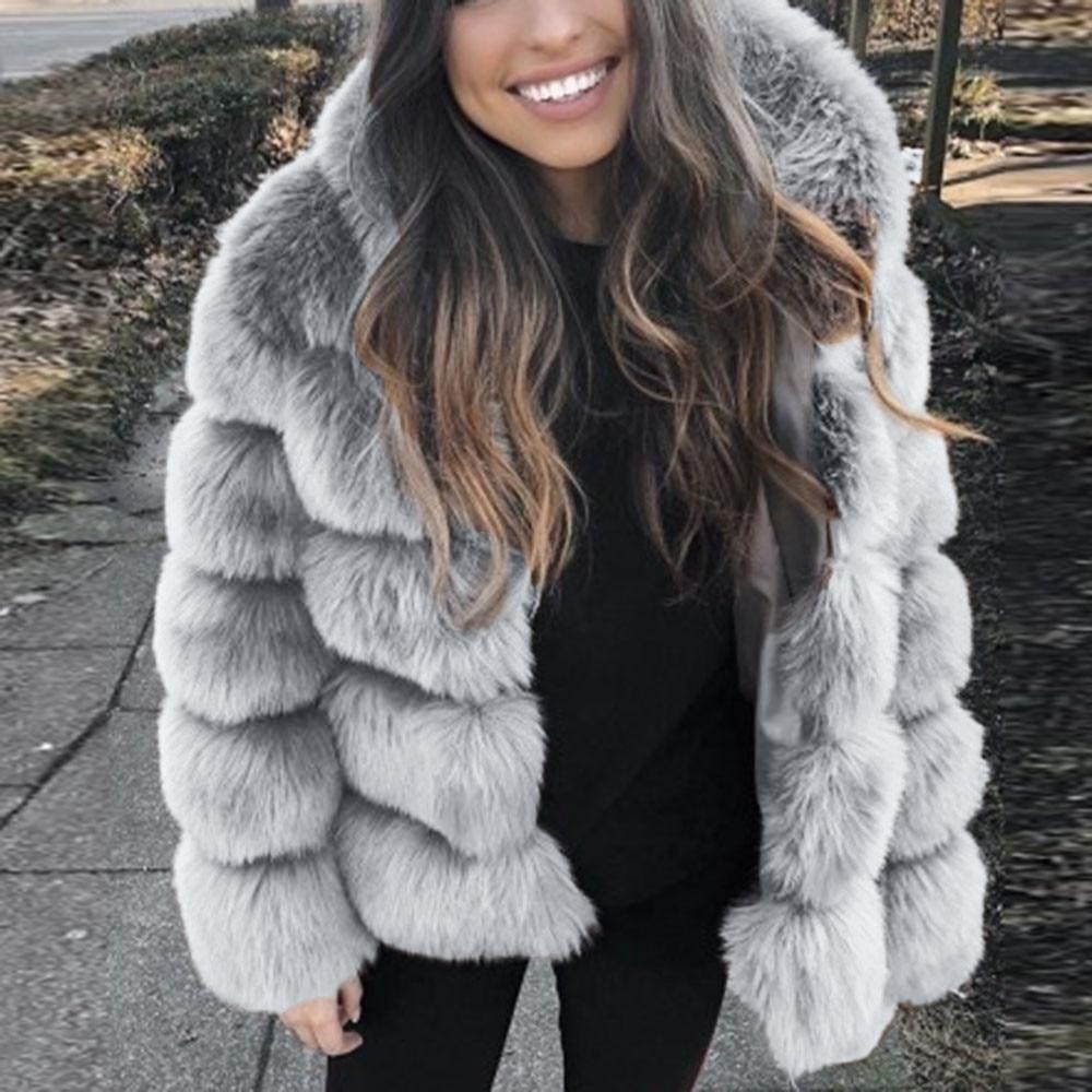 Women Fashion Luxury Faux Fur Mink Coat Overcoat Winter Hooded New Faux Fur Jacket Warm Thick Outerwear Jacket Chaqueta Mujer