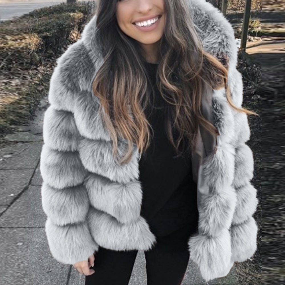 Women Fashion Luxury <font><b>Faux</b></font> <font><b>Fur</b></font> <font><b>Mink</b></font> <font><b>Coat</b></font> Overcoat Winter Hooded New <font><b>Faux</b></font> <font><b>Fur</b></font> Jacket Warm Thick Outerwear Jacket chaqueta mujer image