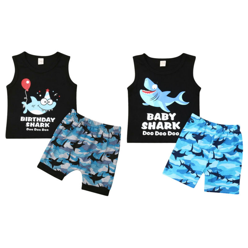 2Pcs Toddler Kids Baby Boy T-shirt Tops+Strap Pants Trousers Outfits Set Clothes
