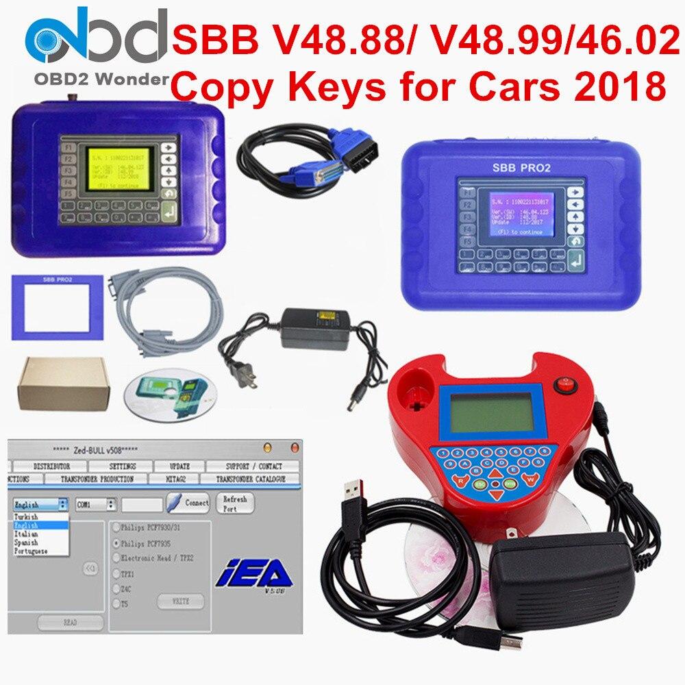 2019 sbb pro2 v48.88 v48.99 v46.02 + mini zedbull programador chave automática sbb pro 2 48.88 48.99 versão zed touro obd2 chave fabricante