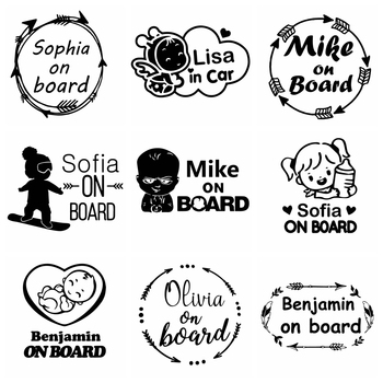 10 Kinds Custom Name Baby on Board Funny Car Sticker Vinyl Stickers for Cars Body Decal Window Decals Car-Styling Decoration Kk недорого