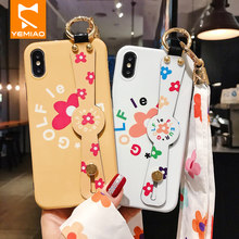 Dinosaure mignon Mince étui pour iphone 7 6 6s Plus 8 Doux TPU Fleur Vague Point Brillant Bracelet étui pour iphone X XS MAX XR Couverture(China)