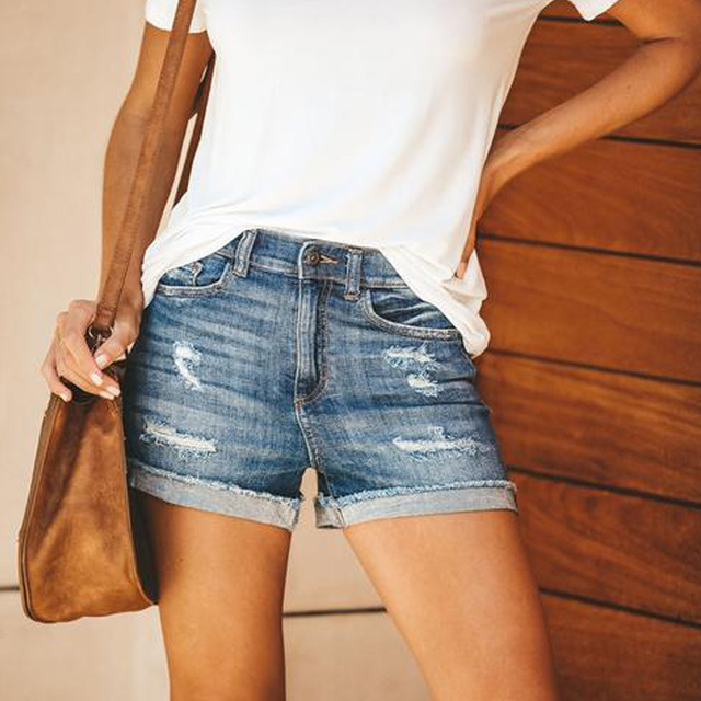 Women fashion Tassel High Waist Denim Shorts Vintage Ripped