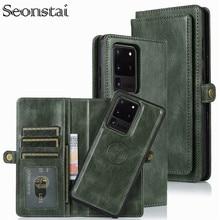 Ayrılabilir Flip deri cüzdan kılıf Samsung Galaxy S8 S9 S10 E S20 Ultra not 8 9 10 artı A10 a20 A30 A40 A50 s A70 A51 A71