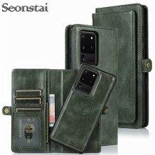 ที่ถอดออกได้พลิกหนังกระเป๋าสตางค์สำหรับ Samsung Galaxy S8 S9 S10 E S20 Ultra หมายเหตุ 8 9 10 Plus A10 a20 A30 A40 A50 S A70 A51 A71