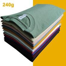 240g XS-4XL camisetas masculinas verão casual tshirts masculina curto ombro queda de algodão básico simples sólido camisetas femininas plus size