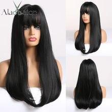 Alan eaton preto longa reta peruca com franja perucas de cabelo sintético para a mulher resistente ao calor fibra festa cosplay perucas traje