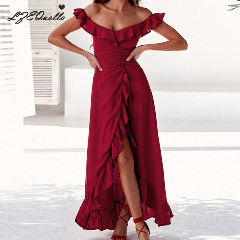 Women Sexy Long Dress Solid Ruffles High Waist Backless Dresses Sunmmer Beach Sundress Holiday Vestidos Party Dress NZ1249