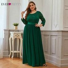 Plus Size Evening Dresses Long Ever Pretty EP07412 Elegant Long Sleeve A line Lace Chiffon Navy Blue Winter Wedding Guest Dresse