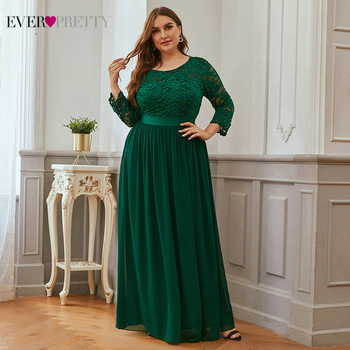 Plus Size Evening Dresses Long Ever Pretty EP07412 Elegant Sleeve A-line Lace Chiffon Navy Blue Winter Wedding Guest Dresse - discount item  39% OFF Special Occasion Dresses