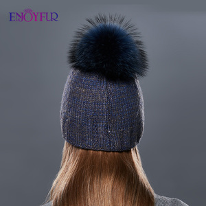 Image 4 - ENJOYFUR Thick Warm Double Layer Women Winter Hats Fashion Coarse Twist Type Knitted Hat Female Fur Pompom Cap Cashmere Beanies