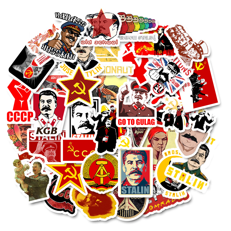 50 PCS Mixed Soviet Union Stalin USSR CCCP HET Stickers Waterproof PVC Skateboard Guitar Phone Motorcycle Laptop Luggage Sticker