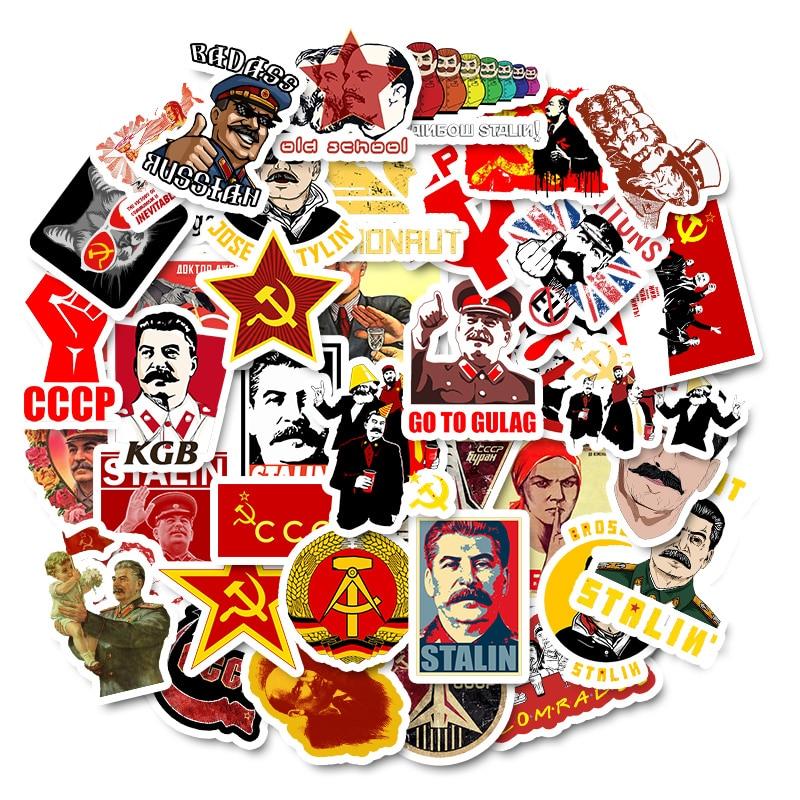 50 PCS Mixed Soviet Union Stalin USSR CCCP HET Stickers Waterproof PVC Skateboard Guitar Phone Motorcycle Laptop Luggage Sticker