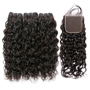 Image 2 - Lanqi water wave bundles with closure 100% human hair bundles with closure brazilian hair weave bundles non remy hair extensions