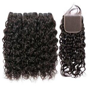 Image 2 - Su dalgası demetleri ile kapatma ile brezilyalı saç örgü demetleri ile kapatma olmayan remy ıslak ve dalgalı insan saç demetleri ile kapatma