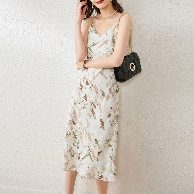 2021 New Korean Fashion Women's Summer Floral Print A Line Midi Dress Office Lady Elegant Spaghetti Strap V Neck Dresses