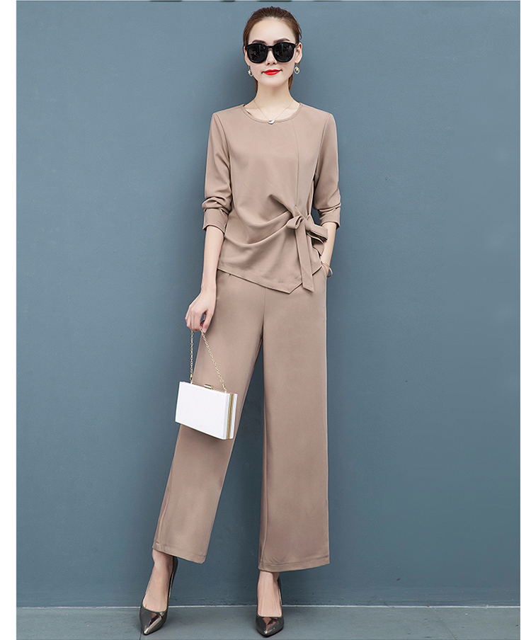 2019 Autumn Elegant Two Piece Sets Outfits Women Plus Size Long Sleeve Bow Tops And Wide Leg Pants Suits Office Korean Sets Pink 47