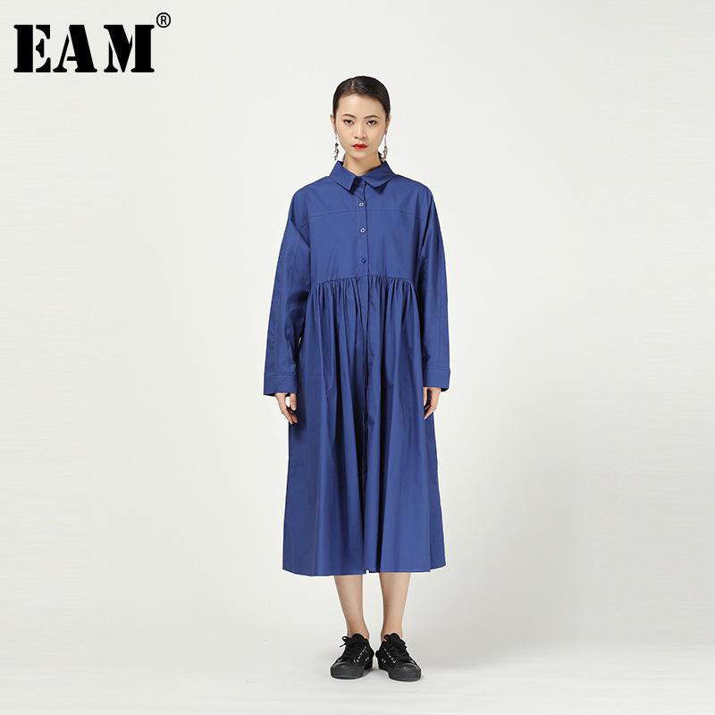 [EAM] Women Blue Pleated Pocket Split Big Size Shirt Dress New Lapel Long Sleeve Loose Fit Fashion Tide Spring Autumn 2020 1R084