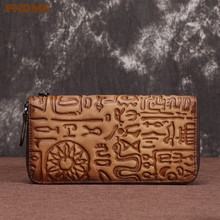 PNDME high quality genuine leather ladies clutch bag vintage embossed designer phone long zip wallet for women luxury purse
