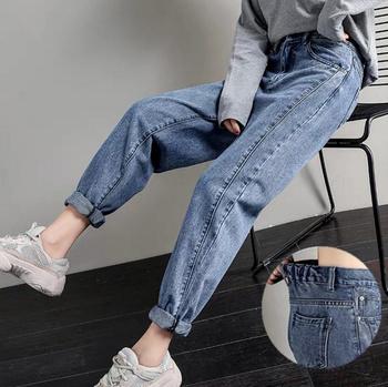 Bawełniane proste dżinsy kobieta elastyczność wysokiej talii dżinsy kobieta plus rozmiar dżinsy dla mamy niebieskie nowe luźne szarawary gorąca sprzedaż tanie i dobre opinie 6 Extra Large Pełnej długości COTTON High Street JEANS jeans Women Stripe Medium Wysoka Tassel Przycisk Myte Porysowany