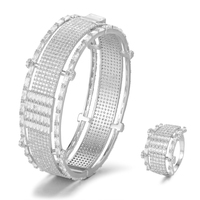 SISCATHY Exquisite Women Bangle Bracelet/Ring Luxury Wide Crystal Cubic Zirconia Wedding Female Jewelry Sets Accessories 2019