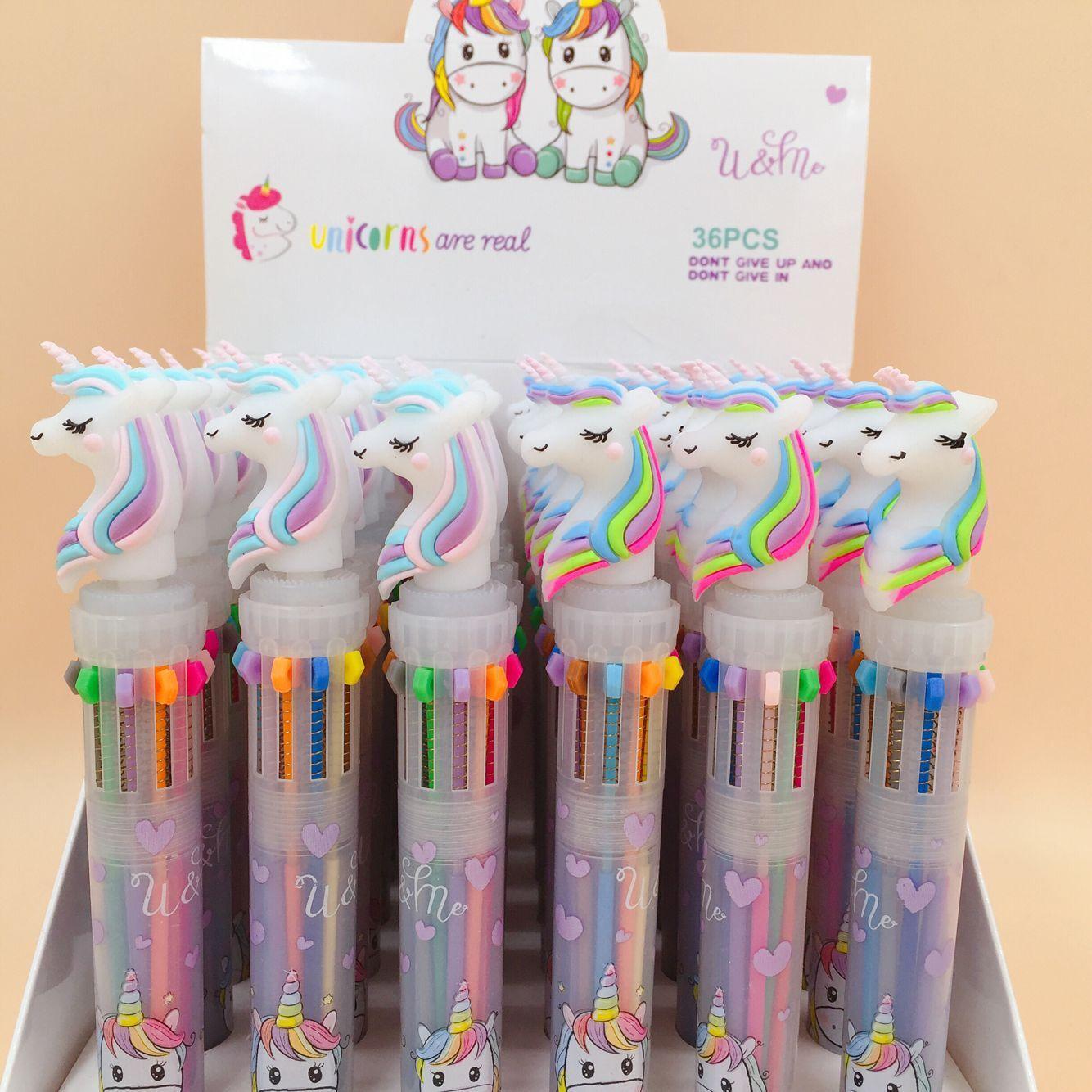 40 pcs lote rainbow unicorn 10 cores caneta esferografica imprensa bonito canetas esferograficas escola escritorio escrita