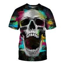 Новая футболка с 3d рисунком черепа Мужская модная забавная